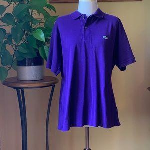 Men's Lacoste Purple Pique Polo Shirt - Size 6, XL